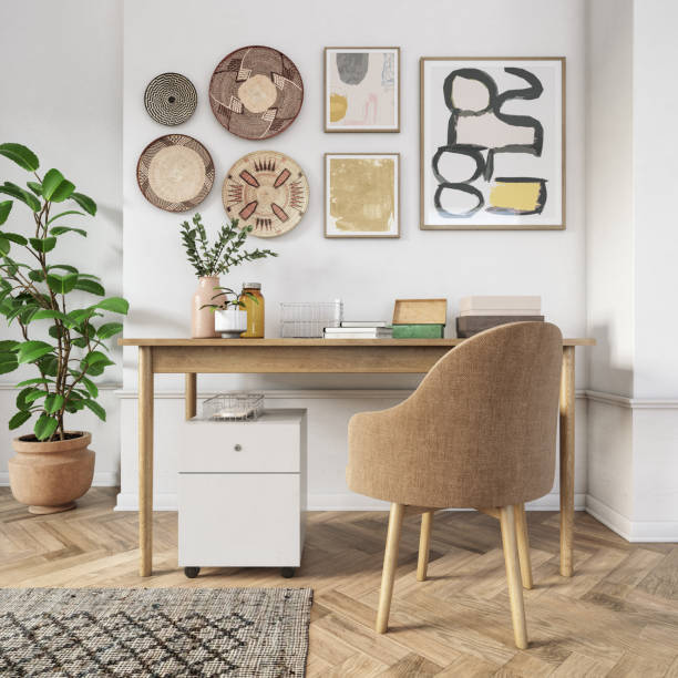 Bohemian home office interior - 3d render:スマホ壁紙(壁紙.com)