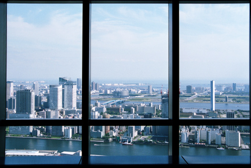 Shiodome「View from skyscraper at Tokyo Bay.」:スマホ壁紙(9)