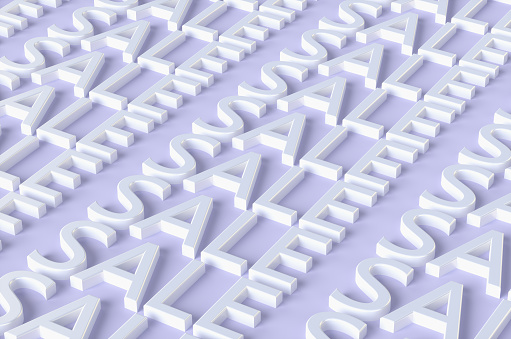 Credit Card Purchase「Purple background of many white SALE inscriptions. 3d illustration.」:スマホ壁紙(10)
