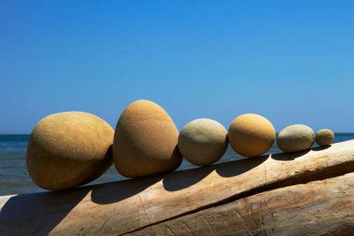 Log「Stones lined up on driftwood」:スマホ壁紙(4)