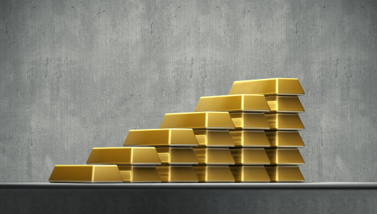 Gray Background「A growing stack of gold bars」:スマホ壁紙(2)