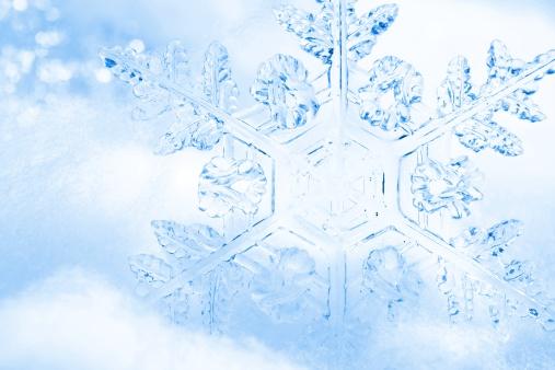 雪の結晶「かわいらしいブルーの結晶の背景」:スマホ壁紙(13)