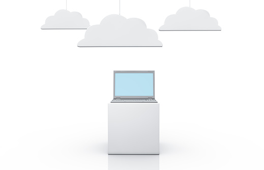 Cloud Computing「Laptop with symbolized clouds」:スマホ壁紙(3)