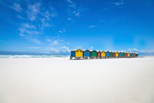 South Africa「Beautiful white sandy beach with colorful huts」:スマホ壁紙(5)
