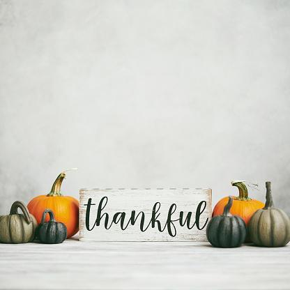 Wallpaper - Decor「Thanksgiving Fall Background with Assortment of Pumpkins and Thankful Sign」:スマホ壁紙(5)
