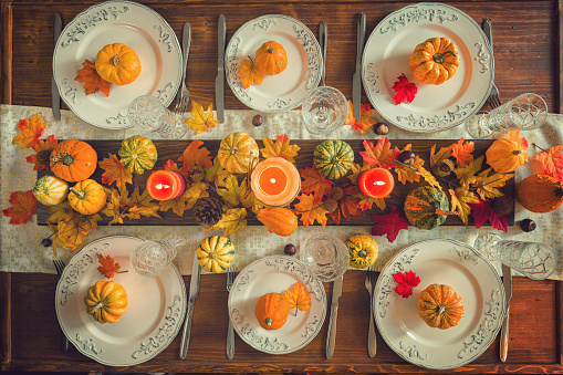 Pine Cone「Thanksgiving Dining Table Place Setting with Autumn Decoration」:スマホ壁紙(6)