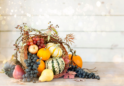 Cornucopia「Thanksgiving Cornucopia on a White Wood Background」:スマホ壁紙(12)