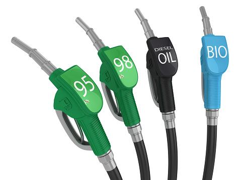 Industrial Hose「Four fuel pump handles with different fuel grades」:スマホ壁紙(12)