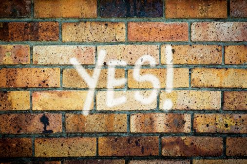 Brick Wall「YES! says enthusiastic graffiti on grungy brick wall」:スマホ壁紙(9)