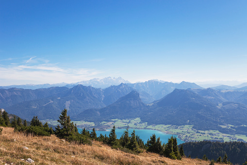 Dachstein Mountains「Idyllic shot of mountains and Lake Wolfgangsee against blue sky」:スマホ壁紙(9)
