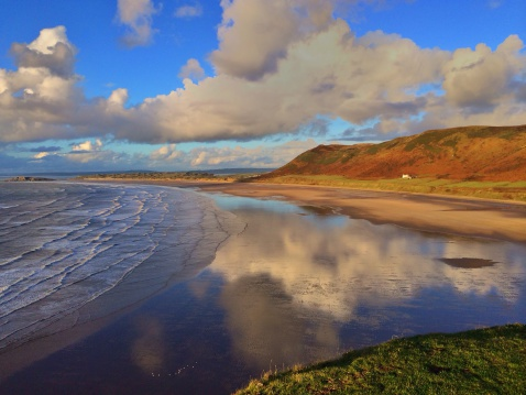 Peninsula「Rhossili Bay, Gower peninsula, Wales, UK」:スマホ壁紙(13)
