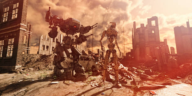 Aftermath: military robot soldier and mech contemplate destruction in war ravaged city after the apocalypse:スマホ壁紙(壁紙.com)