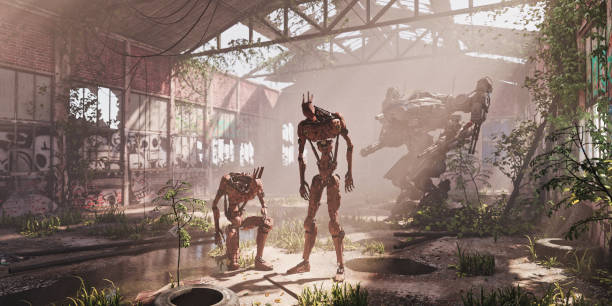 Aftermath: military robots and mech inside ruined warehouse after the apocalypse:スマホ壁紙(壁紙.com)