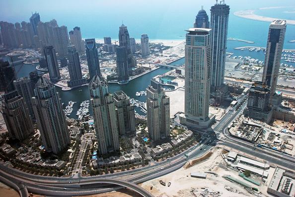 skyscraper「Aerial of Dubai, United Arab Emirates. Dubai Marina, Jumeirah Beach Residence. July 2007.」:写真・画像(9)[壁紙.com]