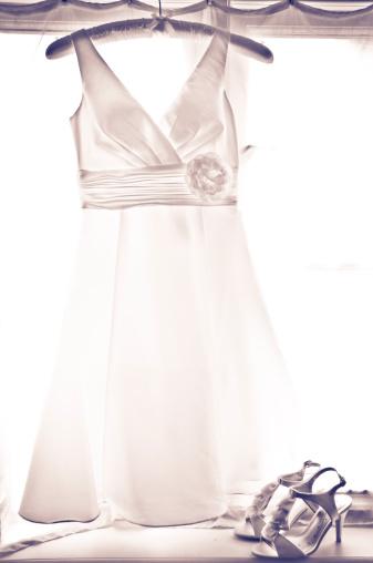 Dress「Bridal dress hanging by window and high heels」:スマホ壁紙(3)