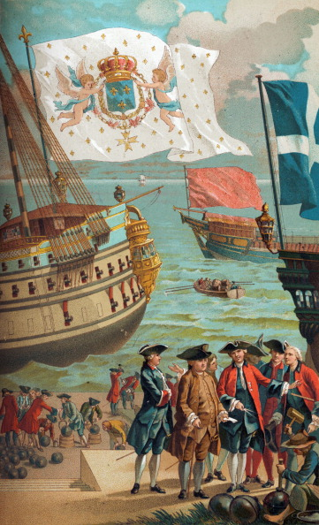 Retail Occupation「The Royal Flag of France (national flag), galley flag (red) and flag of the merchant navy (blue with white cross). Engineers and navy designers in foreground (Engineer André, borthers La Rose) of French 18th century port and quays.」:写真・画像(8)[壁紙.com]