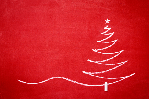 Green Background「Christmas tree on the redboard」:スマホ壁紙(18)