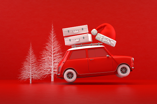 New Year Card「Christmas Travel Holiday Concept, Red Car, Red Background」:スマホ壁紙(14)