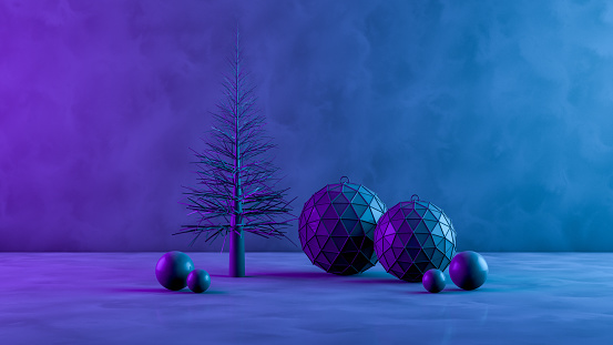 New Year Card「3D Christmas Tree and Ornaments with Neon Lights on Black Background」:スマホ壁紙(10)