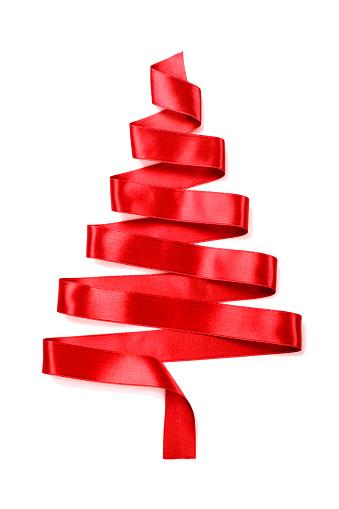 Tree「Christmas tree made of a red ribbon」:スマホ壁紙(17)