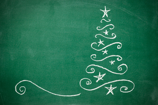 Writing「Christmas tree on the blackboard」:スマホ壁紙(14)