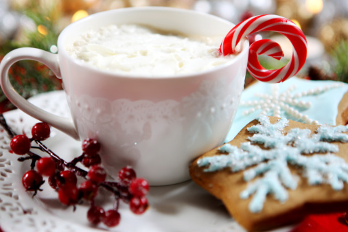 Candy Cane「Christmas themed Hot chocolate and cookies with peppermint 」:スマホ壁紙(9)