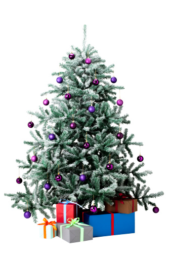 Gift「Christmas tree with snow, decorations, presents」:スマホ壁紙(9)