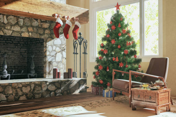 Christmas tree in the living room:スマホ壁紙(壁紙.com)