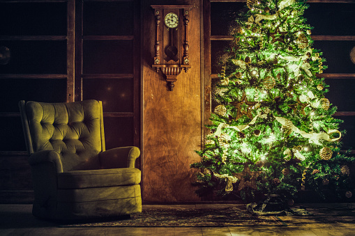 Piedmont - Italy「Christmas tree near green armchair in a old house」:スマホ壁紙(3)