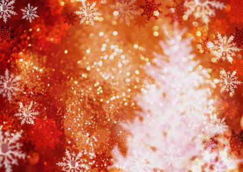 赤「Christmas tree and snow crystals, CG」:スマホ壁紙(19)