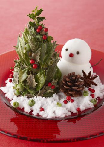 雪だるま「Christmas tree and snowman」:スマホ壁紙(3)