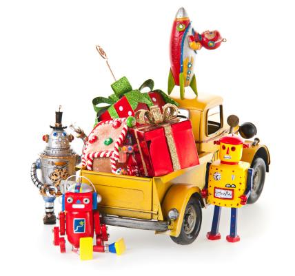 おもちゃのトラック「クリスマスのおもちゃやギフト」:スマホ壁紙(18)