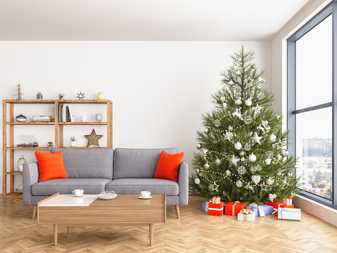 Christmas Tree「Christmas tree with presents and sofa」:スマホ壁紙(17)