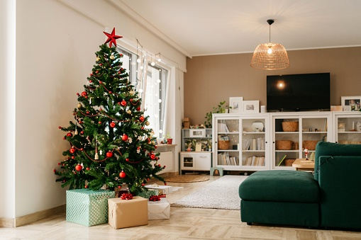 Gift「Christmas tree with presents in the living room」:スマホ壁紙(6)