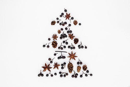 Pine Cone「Christmas tree made from pine cones, berries and star anise」:スマホ壁紙(15)