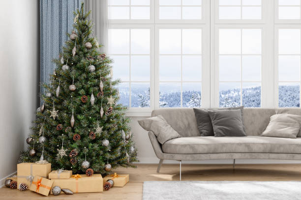 Christmas Tree, Gifts And Sofa With a View Of Snow:スマホ壁紙(壁紙.com)
