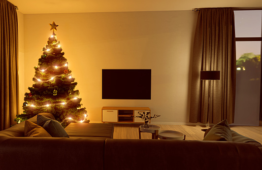 Denmark「Christmas tree in living room with flat screen television」:スマホ壁紙(7)