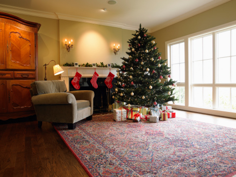 Christmas Tree「Christmas tree and gifts beside fireplace in living room」:スマホ壁紙(16)