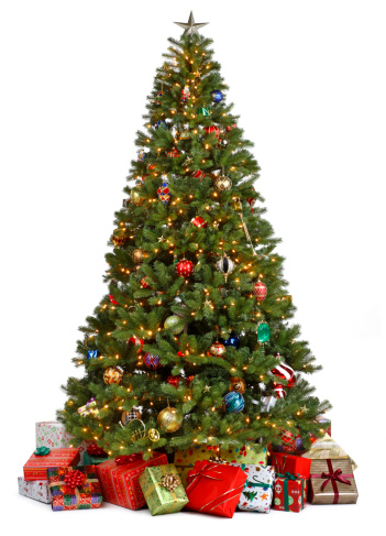 Christmas Tree「Christmas tree surrounded by presents on white background」:スマホ壁紙(5)