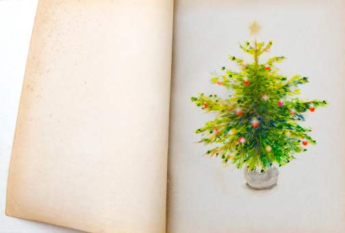 Fairy tale「Christmas tree illustration in an old book」:スマホ壁紙(12)