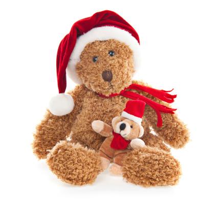 Santa Hat「Christmas Teddy Bear with Toy」:スマホ壁紙(19)