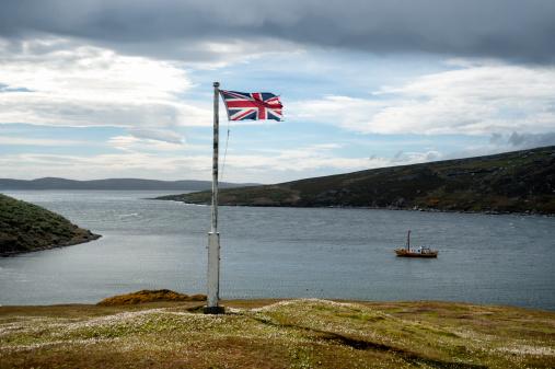 Falkland Islands「The Union Jack flag fluttering in the wind」:スマホ壁紙(4)