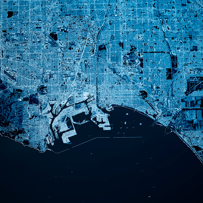 Digital Composite「Long Beach California 3D Render Map Blue Top View Mar 2019」:スマホ壁紙(17)