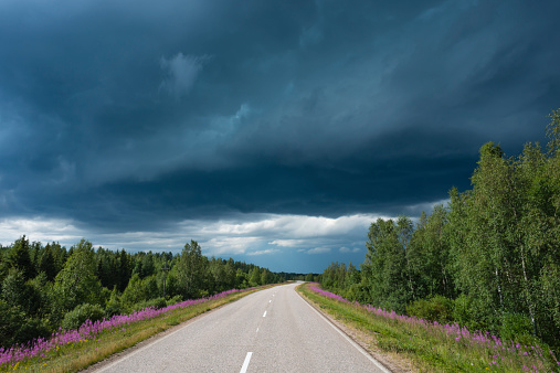 Finland「Finland, Lapland, road to Rovaniemi with thunderstorm」:スマホ壁紙(13)