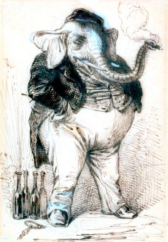 Caricature「Caricature of elephant smoking」:スマホ壁紙(7)