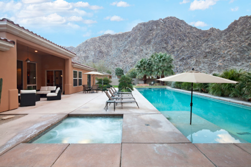 California「Rear view of luxury villa with swimming pool」:スマホ壁紙(14)