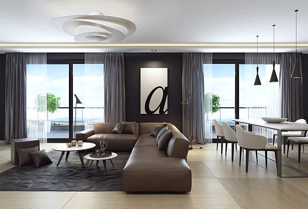 Modern black luxury style apartment with leather sofa:スマホ壁紙(壁紙.com)