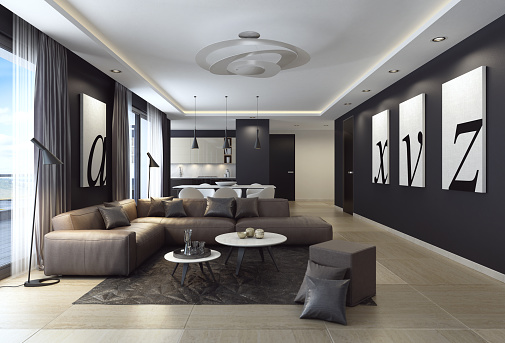 Black Color「Modern black luxury style apartment with leather sofa」:スマホ壁紙(3)
