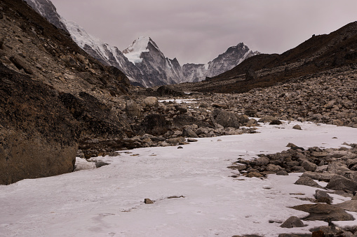 Khumbu「Frozen river bed near Dzongla with Himalayan peaks behind, Everest Base Camp via Gokyo Trek, Nepal」:スマホ壁紙(13)