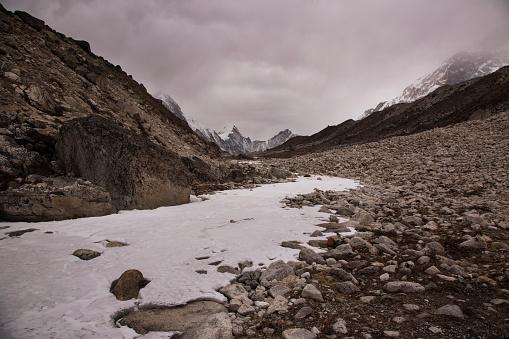Khumbu「Frozen river bed near Dzongla with Himalayan peaks behind, Everest Base Camp via Gokyo Trek, Nepal」:スマホ壁紙(11)